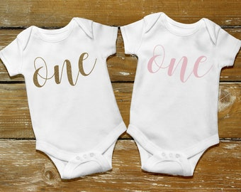 """First Birthday """"ONE""""  iron on decal cursive"""
