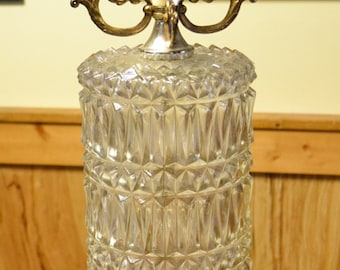 Vintage Table Lamp Glass with Gold Tone Metal Details Glass Prism Crystals Hollywood Regency Lighting PanchosPorch