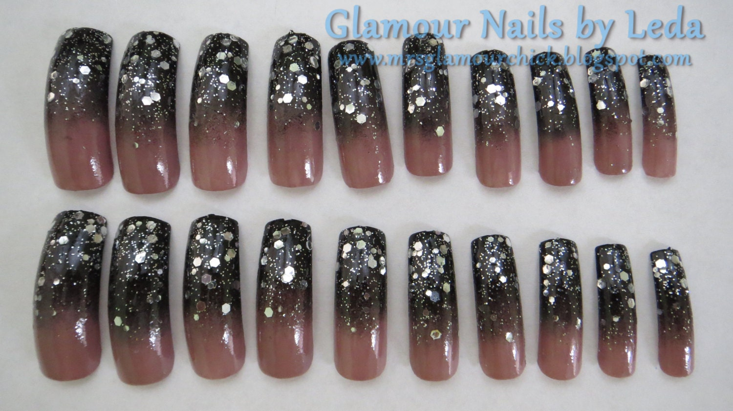 20 Full Well Extreme Long Stiletto Nails Black to Taupe Gradient ...