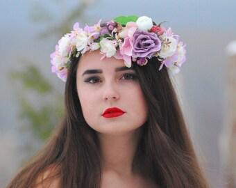 Pink floral crown Bridal flower crown Floral crown Boho flower crown Flower halo Woodland wedding Floral hair wreath Wedding flower crown