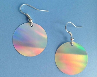 Holographic disc earrings - silver plated - Festival - Ibiza