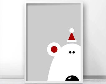 Instant Download Christmas Print, Printable Christmas Wall Art, Bear Print, Christmas Decor, Christmas Printables, Polar Bear Print