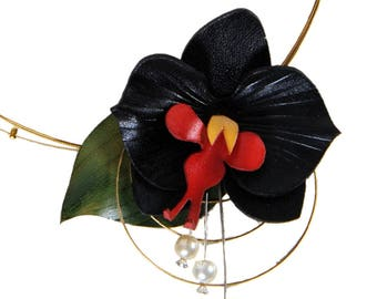 Black Orchid Necklace and pearl beads