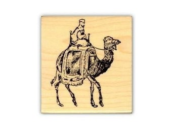 CAMEL RIDER Mounted African or Arabian rubber stamp, Africa, Bedouin, desert, Christmas, travel journal stamp, Sweet Grass Stamps No.17
