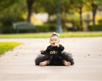 Black and Gold Baby Girl 1st Birthday Outfit | Baby Tutu | Tutu Dress | Birthday Dress | Baby Girls Cake Smash Outfits | Birthday Tutu