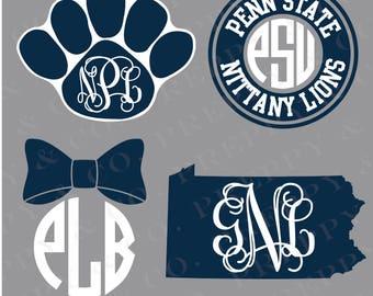 Penn State Vinyl Decal - Monogram PSU Sticker - Pennsylvania State University