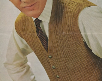 Mens Waistcoat PDF Knitting Pattern : Mans 38, 40 and 42 inch chest . Instant Digital Download