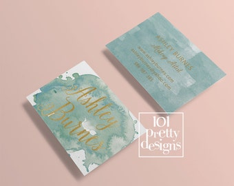 Watercolor business card template gold printable business card design gold and blue business cards custom busienss card gold foil makeup