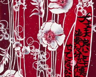 Neo-Japonism Art, japanese calligraphy, red white flowers, original poem, Limited Edition Fine Art Print A4 8,5x11""