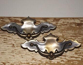 """Large brass bat wing drawer pulls,vintage chippendale hardware,set of 2,cabinet hardware,dresser handles,restoration hardware,,5"""" pulls,"""