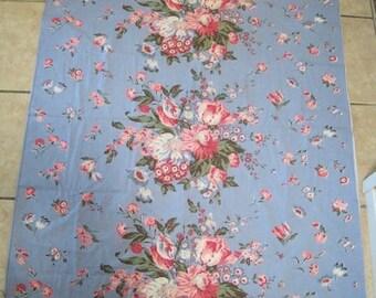 Vintage Barkcloth Fabric Roses Tulips Shabby