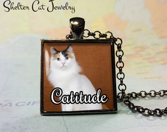 "Catitude Cat Pendant - 1"" Square Pendant Necklace or Key Ring - Handmade Wearable Shelter Cats Photo Art Jewelry"