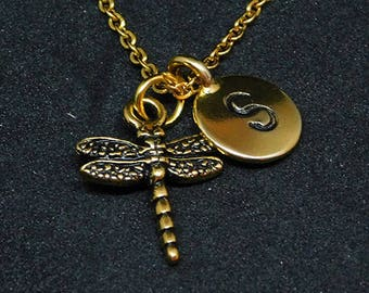 Golden Dragonfly with Initial necklace, initial charm, personalized jewelry, dragonfly necklace, nature jewelry, dragonfly charm