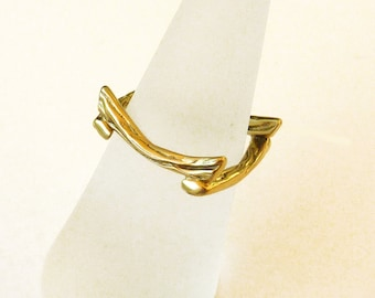 18K Gold Ring, Square Gold Ring, Gold Band Ring, Pinkie ring - sz 5.0, Zen Nature Collection