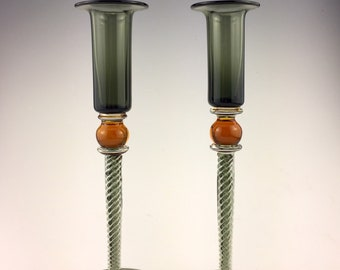 Candlesticks. Amber and Grey