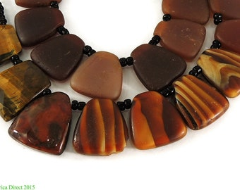 """Africa Direct: """"Tortoise Shell"""" Trade Beads Rare Flat Brown Africa 40 Inch 96346"""