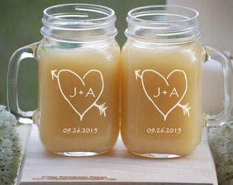 Personalized Mason Jar Mugs, Rustic Heart with Initials, Wedding Party Favor, Mason Jar Gift Set, Mason Jar Head Table, Bride and Groom