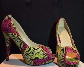 Ankara Covered Heels - African Pumps, Ankara Pumps, African Shoes, African Women Shoes