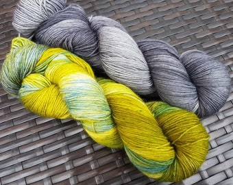 Shawl Pair: Falling Waters; 2 x 100g complementary yarn skeins, hand dyed sock weight merino/nylon yarn