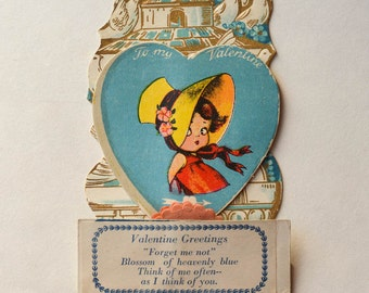 Valentine Card 1930s Honeycomb Valentine Card