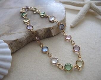Swarovski Anklet, Swarovski Crystal Multi Color 14K Gold Filled Bezel Anklet, Gold Anklet, Swarovski Jewelry Gifts For Her, Bezel Anklet