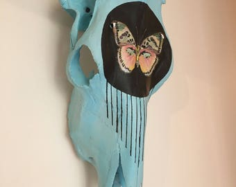 Blue Cow Skull with Pastel Butterfly