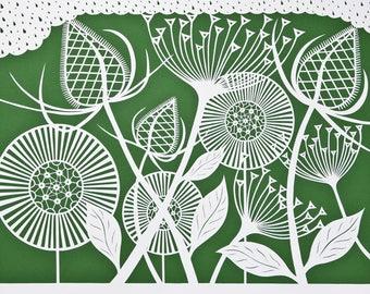"""Handmade art card """"Botanical Pattern Moss Green"""""""