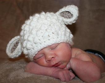Made to Order:  Crochet Newborn Lamb hat