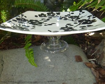 Black and White Square Cake stand (Set of 2)