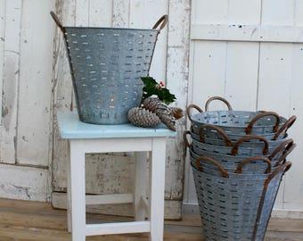 Olive Bucket / Bucket / Garden Planter / Vintage / Olive / Basket / Home Decor / Galvanized / Zinc / Rustic / Farmhouse Decor / Industrial