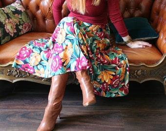 """1980s Skirt - Floral Midi Skirt - Full Flare Circle Skirt - Gold Green Cherry - Vintage Skirt - Size Small Waist 27"""""""