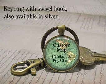Custom map necklace, custom map pendant custom map key chain map key ring Father's Day gift for Dad custom necklace