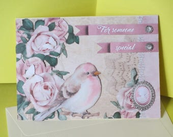 Card 3D Vintage bird and roses