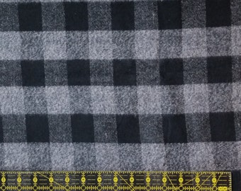 Cotton Flannel Fabric, Plaid Flannel - By the Yard - Black and White Plaid, tartan plaid, scarf fabric, shirt fabric, woven flannel