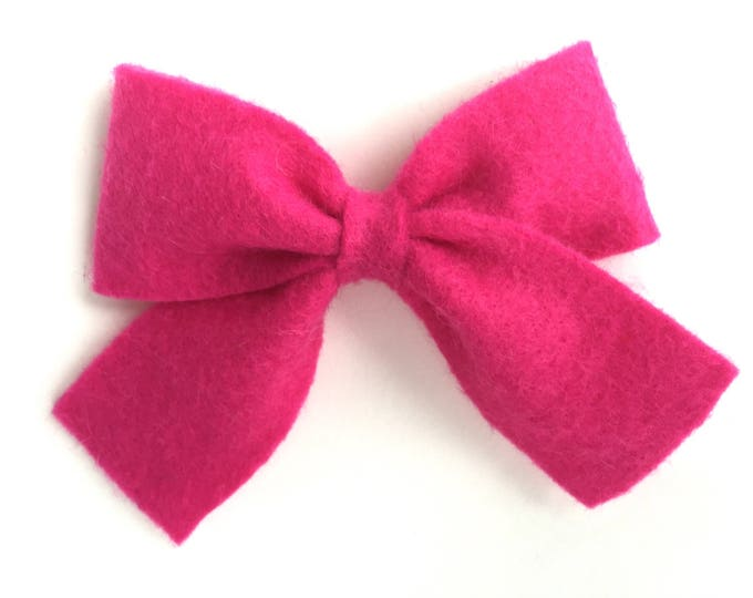 Hot pink sailor bow - felt bow, hair bows, bows, hair bow, hair clips, felt hair clip, hair clip, hair clips for girls, baby bows, hairbows