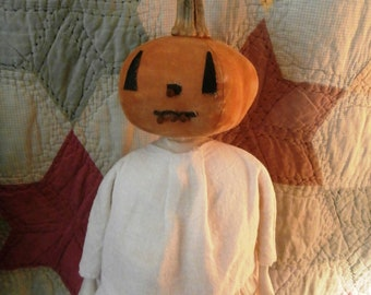 Folk Art Primitive Halloween Pumpkin Head Doll With Real Pumpkin Stem