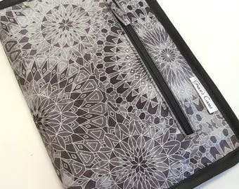 Standard knitting needle case for circulars, interchangeable tips, and short dpns in Silver Circles