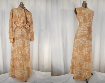 Vintage Boho Maxi Dress - 1970s Plus Size Dress | Brown Gold Metallic Empire Waist Dress Set