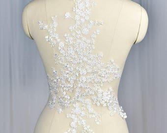 Off White loral Lace applique Pair/Bridal applique/Prom Dress/Evening Dress/Boho Wedding Dress/Lace Wedding Dress Applique for 1 pc/ALA-58