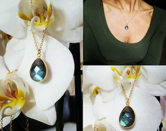 Gold drop labradorite necklace