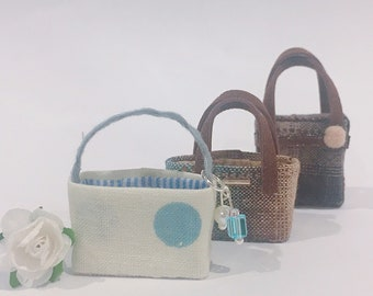 "3 Types of Miniature handbag in 1:24 scale 1/2"""