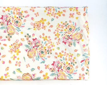 Crib Sheet- changing pad cover- SWIFTING FLORA WHITE- floral crib sheet- floral changing pad cover- girl baby bedding- floral baby bedding