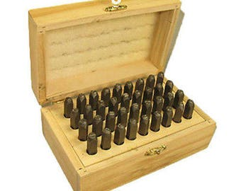 6mm (1/4) Metal Alphabet and Number Stamp Set Wood Box