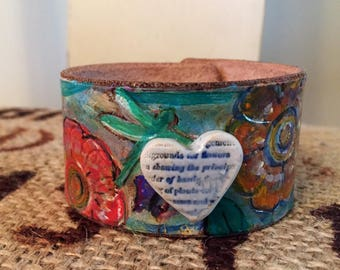 Butterfly Garden- Painted Leather Cuff
