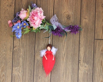 Eching Luck Angel; Needle Felted Doll; Red Angel; Fairy Dolls; Waldorf Inspired