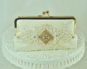Ivory Handbag / Glam Wedding  / Lace Handbag / 1920's / Bridal Handbag / Elgant Wedding