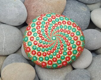 Green & Red Mandala Stone - Painted Rock - Mandala Rock - Meditation - Zen - Dotilism - Rock Art - Mandala Art