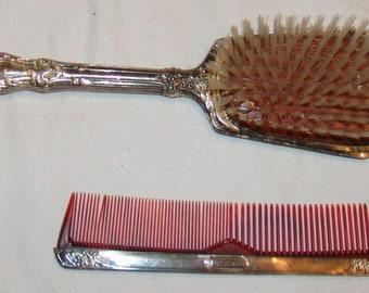 Vtg Sterling Silver Dresser Vanity Set Brush Comb Grooming Set 2 pcs Nylon