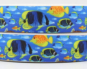 """Fish Grosgrain 7/8"""" Printed Ribbon"""