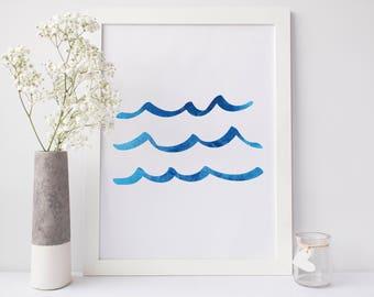 Wave Print Ocean Print, Sea Waves Artwork, Blue Waves Print, Blue Artwork, Digital Download Art, Waves Printable, Nursery Art, Printable Art